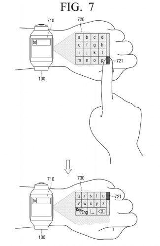 Samsung-virtual-UI-for-wearables-patent9
